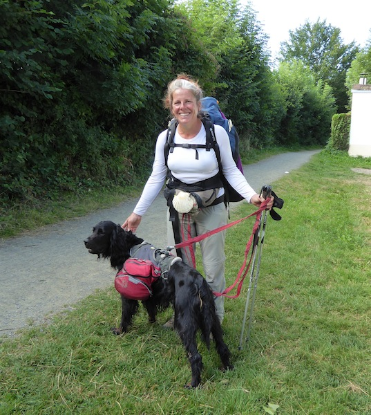 Lydie walked the Camino with her dog.