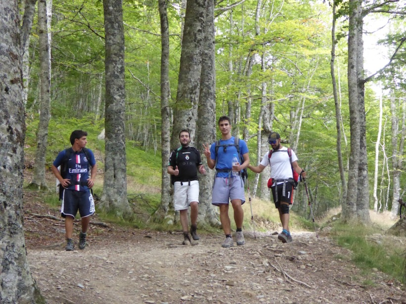 Spanish young men sang along the trail.
