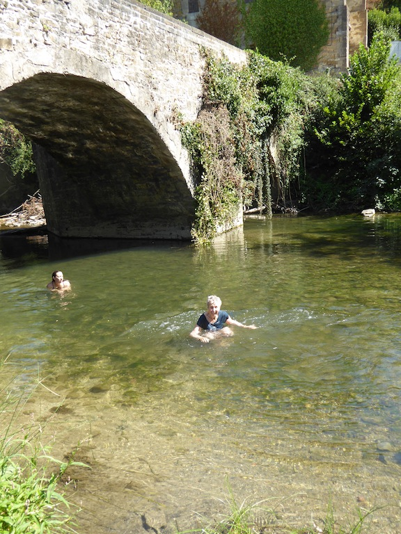 I swam in the creek under the bridge.
