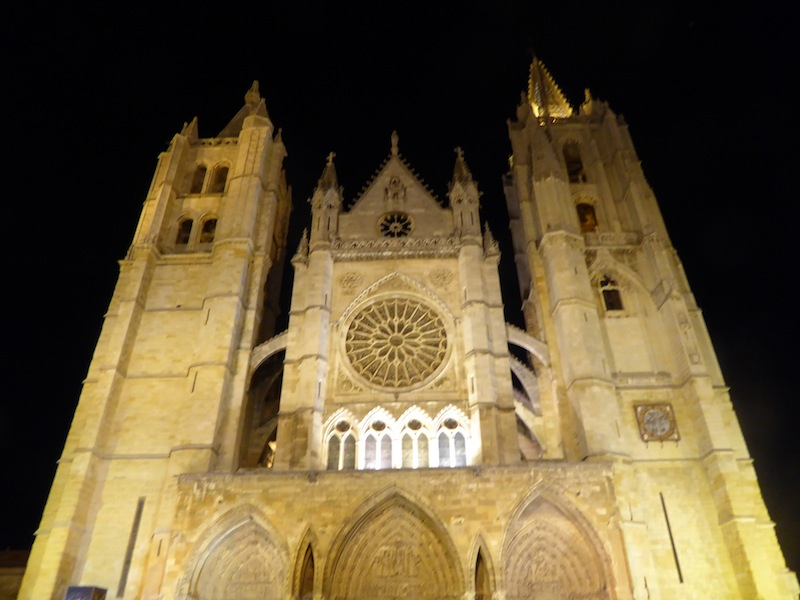 The Cathedral at night in Leon was beautiful.