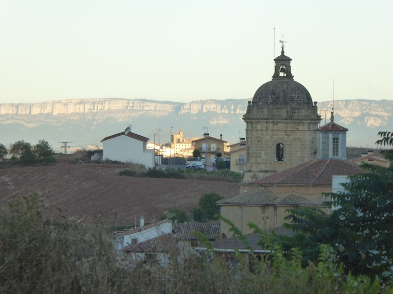A view of the church and hills in the background.