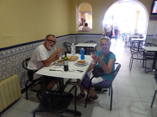Clemente took Me for Spanish snack in Najera.