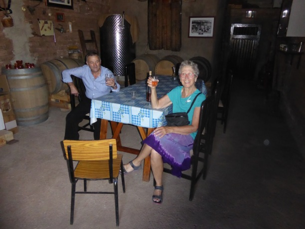 Shared glass of wine with owner