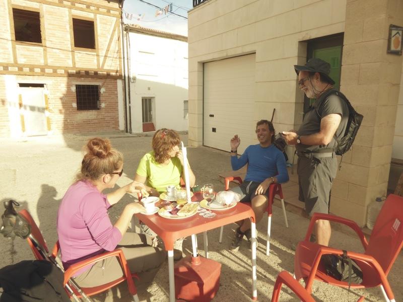 We met friends at breakfast in Villambista,
