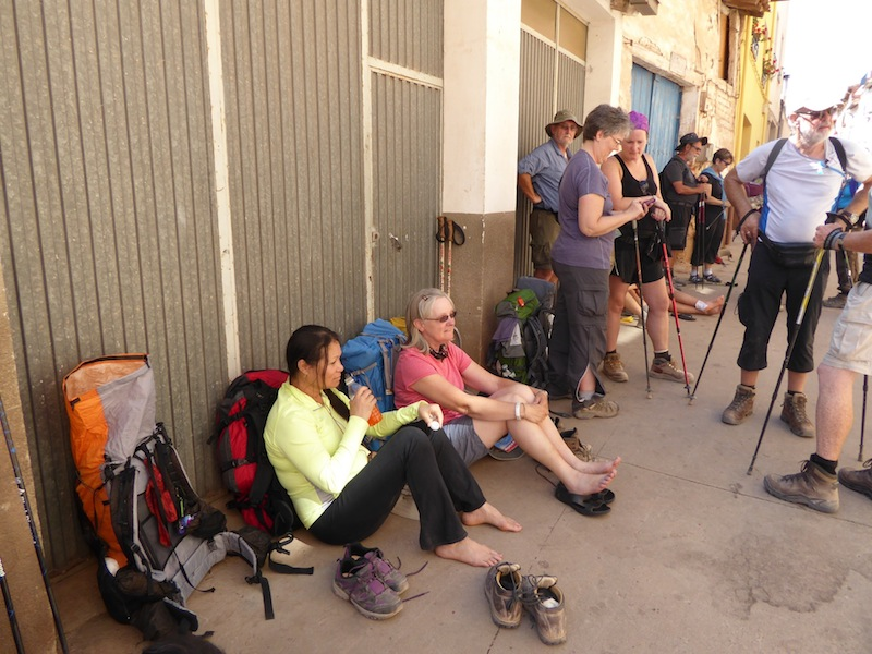 We waited in line to get into the albergue.