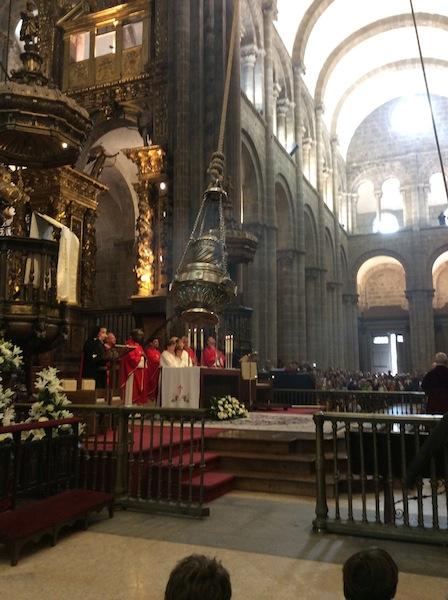 Botafumeiro at Mass in Santiago de Compostela.
