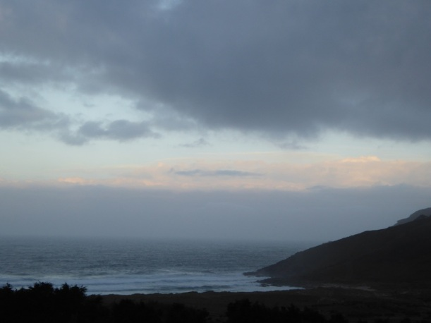 Clouds are over coast in Finisterre