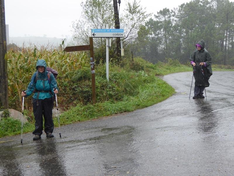 We walked on wet roads.