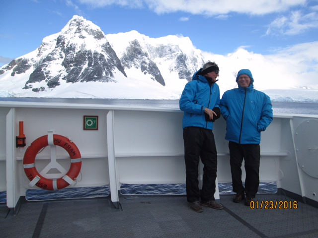 Andy and Jerry are on the deck of the MS Fram near Cuverville.