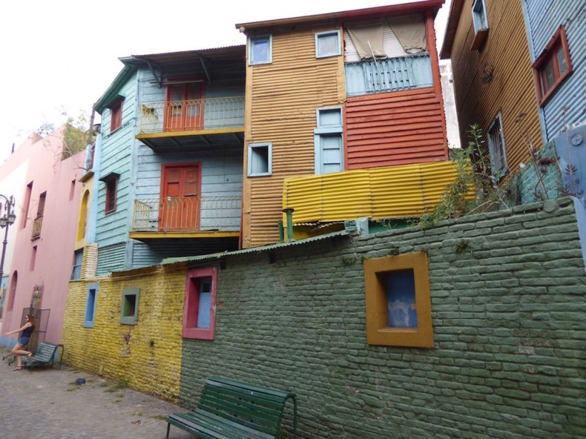 These are the painted buildings in La Boca, Buenos Aires