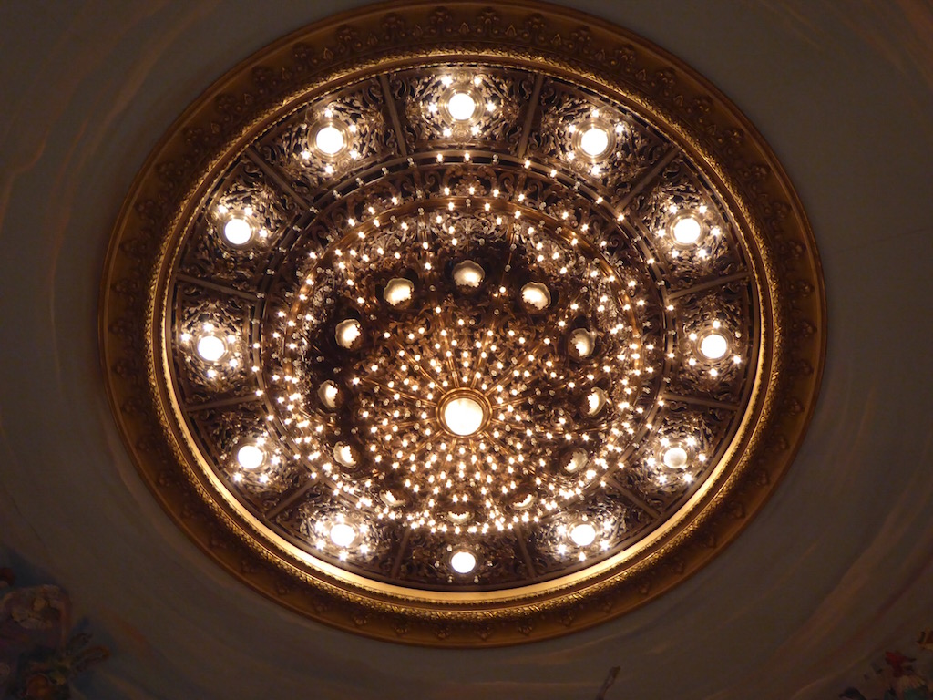 The center chandelier at the opera house weighs 1.5 tons.