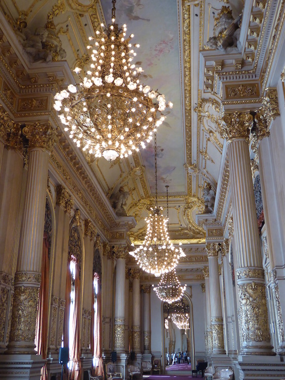 These are chandeliers in the waiting room at Teatro del Colón