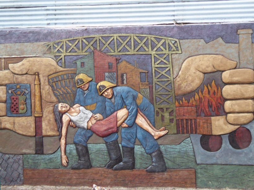 This is a mural honoring the 1st Fire Dept in La Boca.