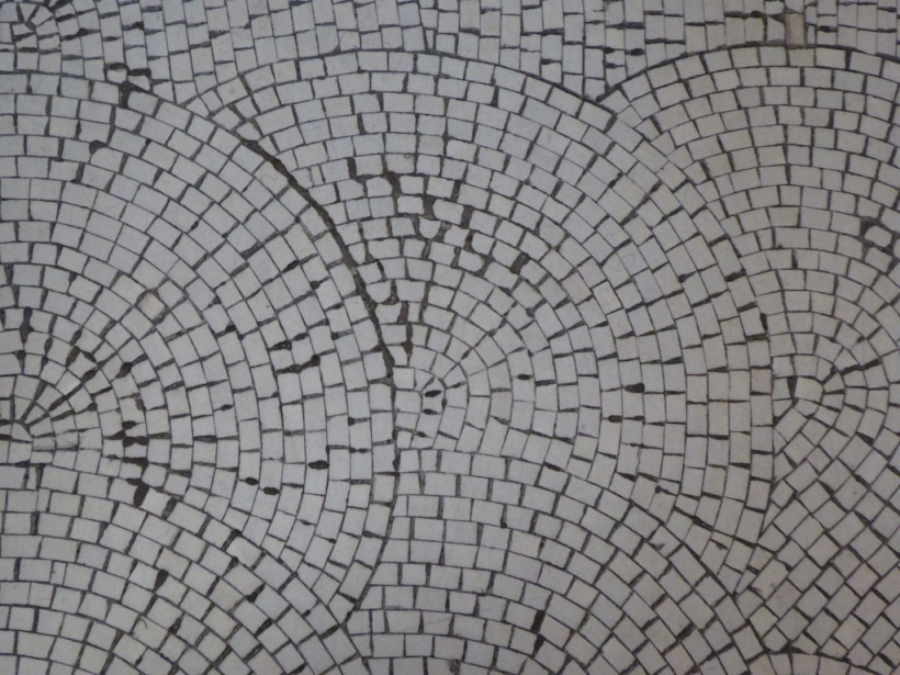 Floor tiles from England were place one by one.