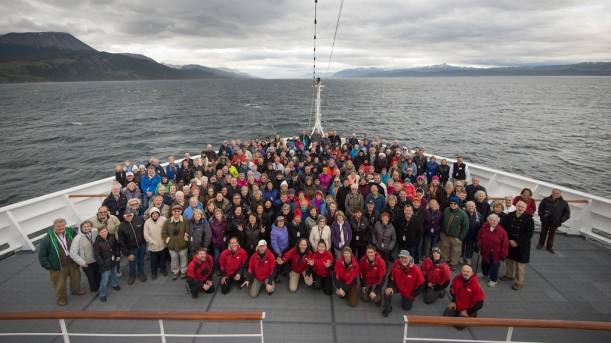 This is the group of people on the MS FRAM to Antarctica.