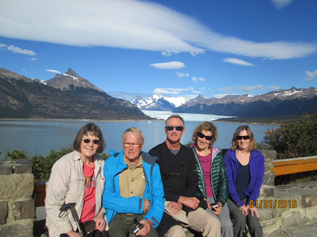 This is a group photo at Perito Moreno Glacier.