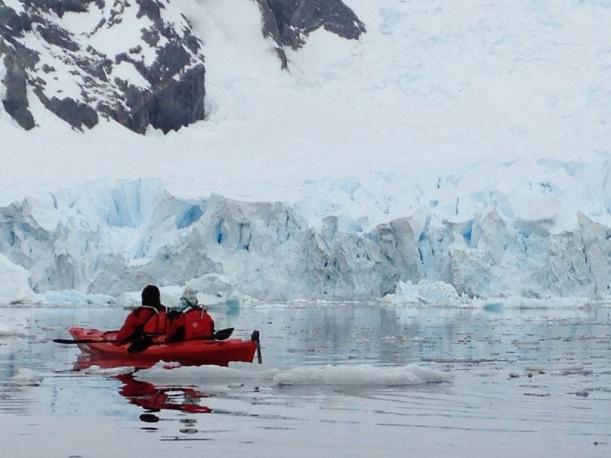 We were kayaking near icebergs