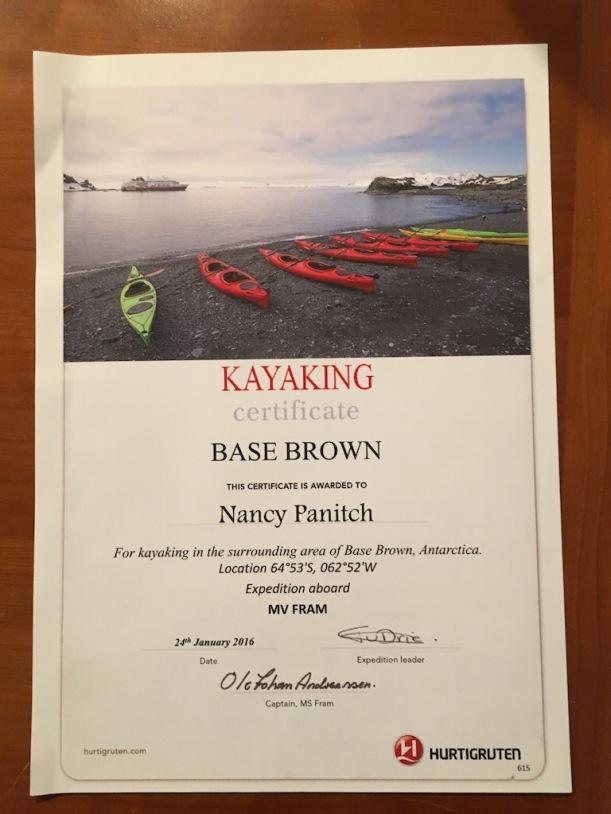 Here is my kayaking certificate.