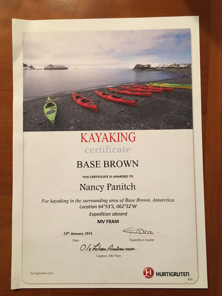 Here is my kayaking certificate.