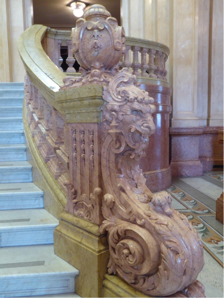 This is one of the lions at the central staircase.