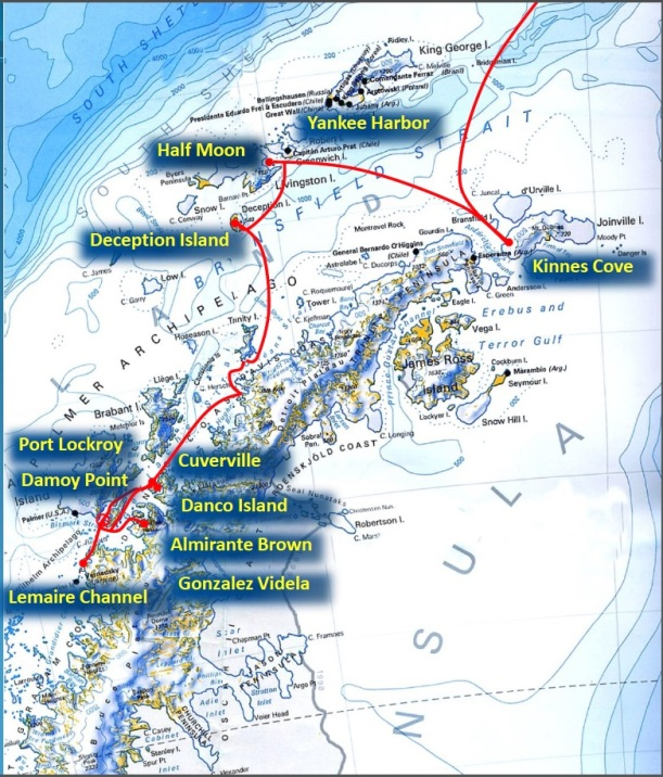 Map of our voyage.