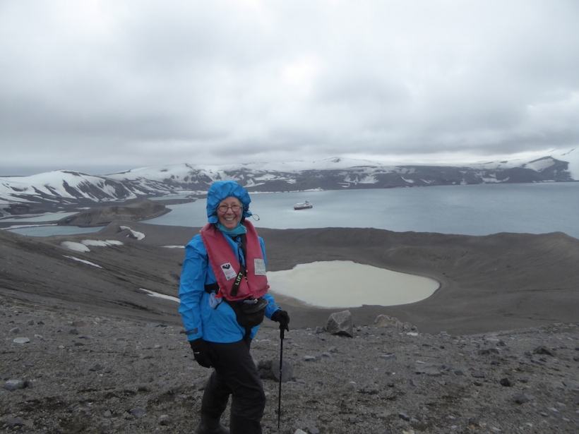 This is Nancy at the top on Deception Island.
