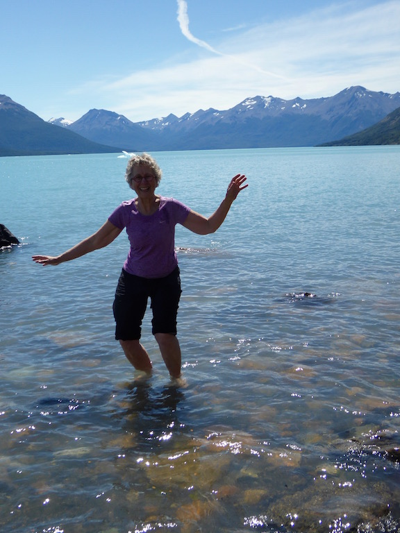 I put my feet into the water fed by Perito Moreno Glacier