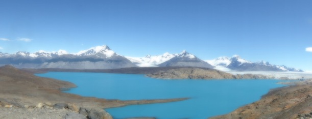 This is a panorama of the glaciers and lake.