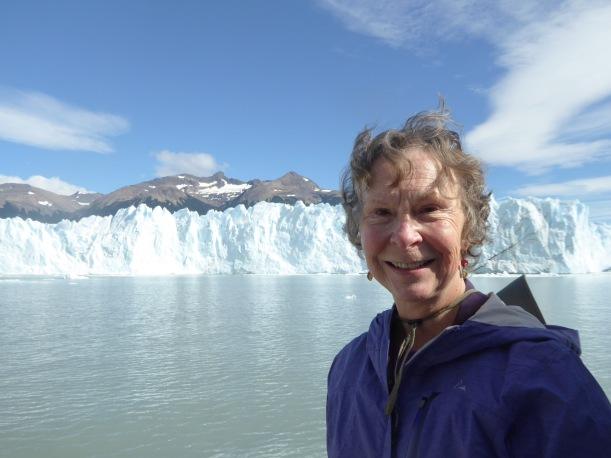 This is a view Perito Moreno and Pat from the catamaran.