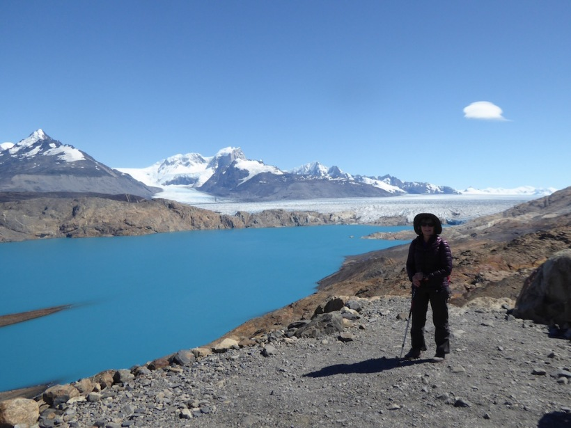 Pat is by the lake with a view of Upsala Glacier.