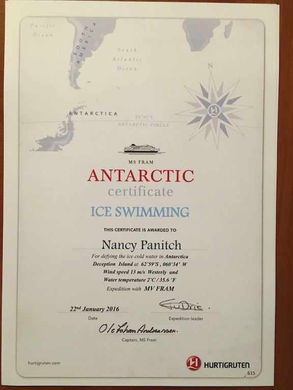 This is my Polar Plunge Certificate.