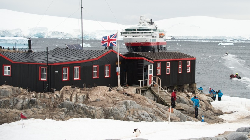 A view of the base at Port Lockroy.