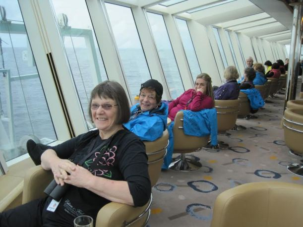 We are relaxing in the observation lounge.