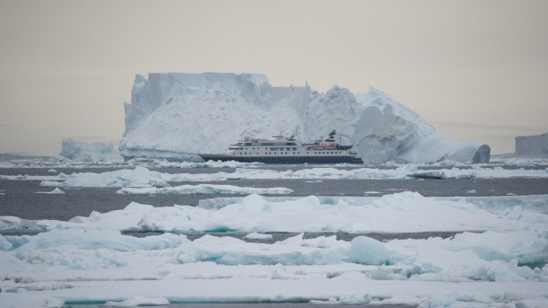 This is the MS FRAM in front of the iceberg