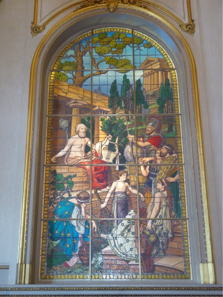 This is one of the stained glass windows imported form Paris