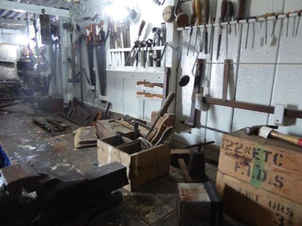 Tools from abandoned bases are at Port Lockroy.