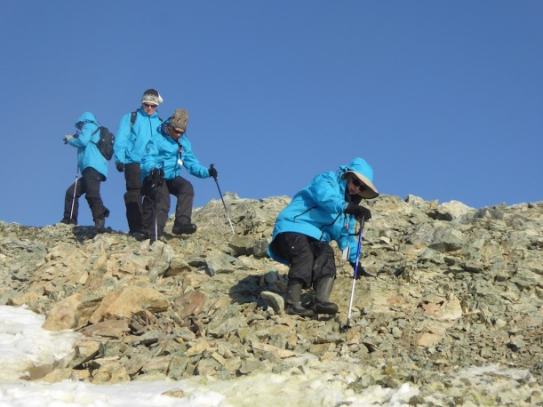 Walking down the scree was also difficult.