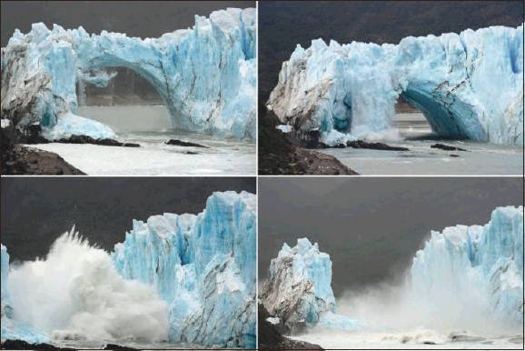 This is Perito Moreno Glacier calving.