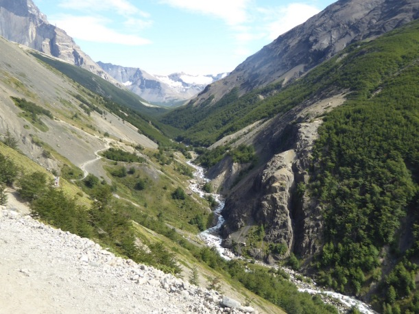 This is a great view of the valley going to Torres del Paine.