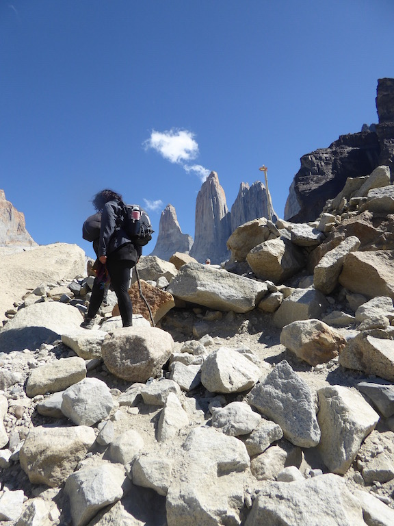This is a rocky path to Torres del Paine.