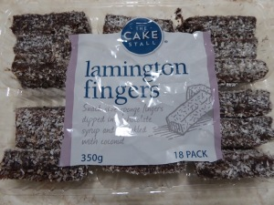 These are Lamington Fingers - a dessert.