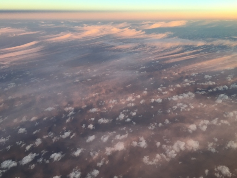 The sunrise from above the clouds.