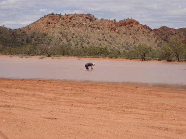 Terri in the water at Clay Pans