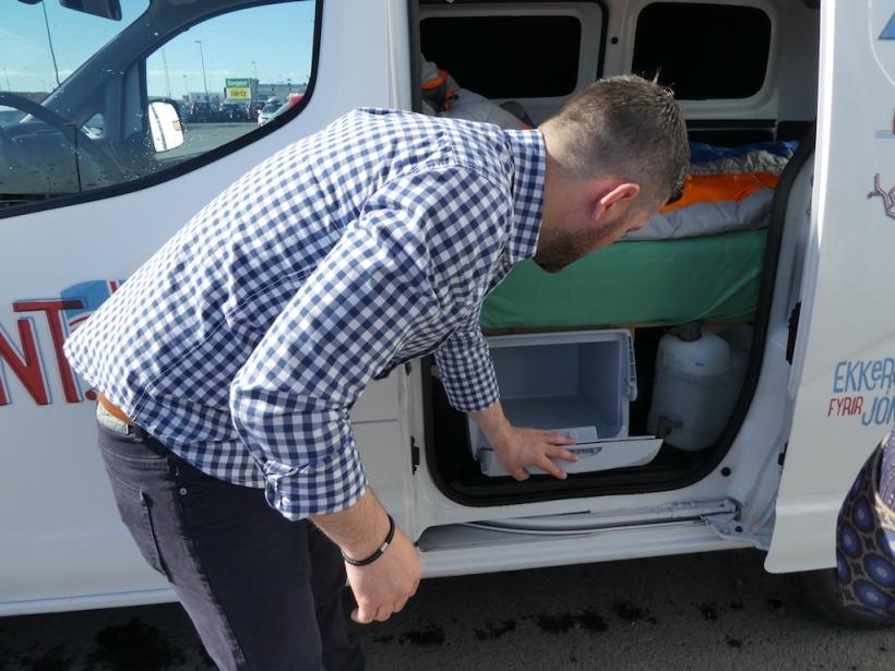 Alexander showing us the van.